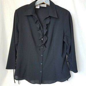 Kathy Che Stretch Blouse Ruffle Front Black